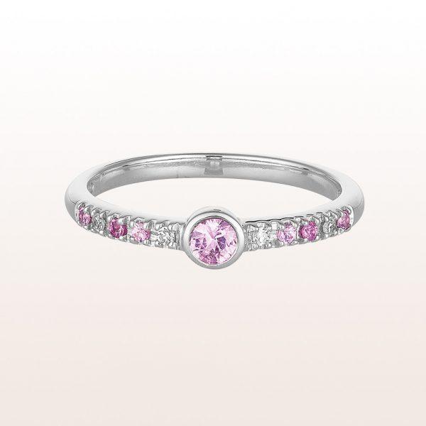 Ring mit rosa Saphiren 0,22ct und Brillanten 0,04ct in 18kt Weißgold