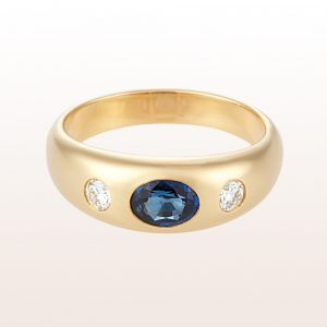 Alliancering mit Saphir 0,98ct und Brillanten 0,48ct in 18kt Gelbgold