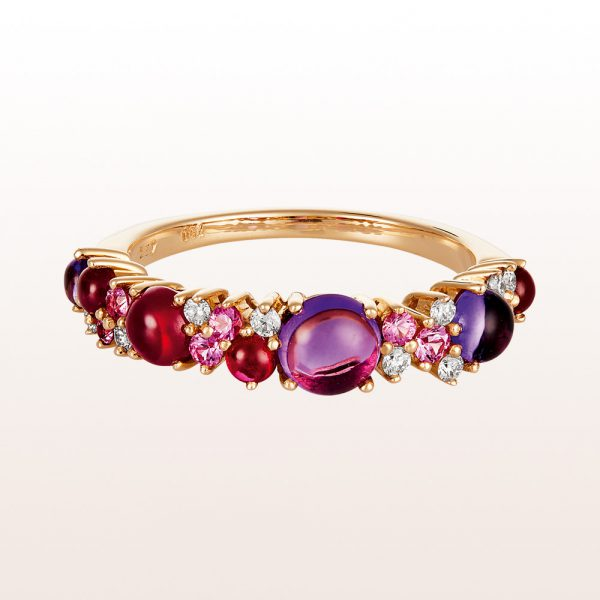 Ring with amethyst, pink sapphire, ruby and brilliants 0,12ct in 18kt rose gold