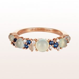 Ring mir Chalzedon, Saphir, Aquamarin und Brillanten 0,12ct in 18kt Roségold
