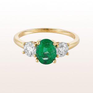 Ring mit Smaragd 0,88ct und Brillanten 0,73ct in 18kt Gelbgold