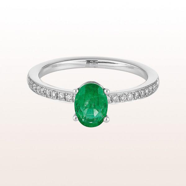 Ring mit Smaragd 0,68ct und Brillanten 0,16ct in 18kt Weißgold
