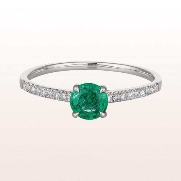 Ring mit Smaragd 0,38ct und Brillanten 0,11ct in 18kt Weißgold