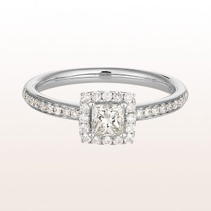Ring mit princess cut Diamant 0,38ct und Brillanten 0,23ct in 18kt Weißgold
