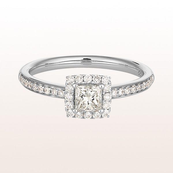 Ring mit princess cut Diamant 0,38ct und Brillanten 0,23ct in 18kt Weißgold