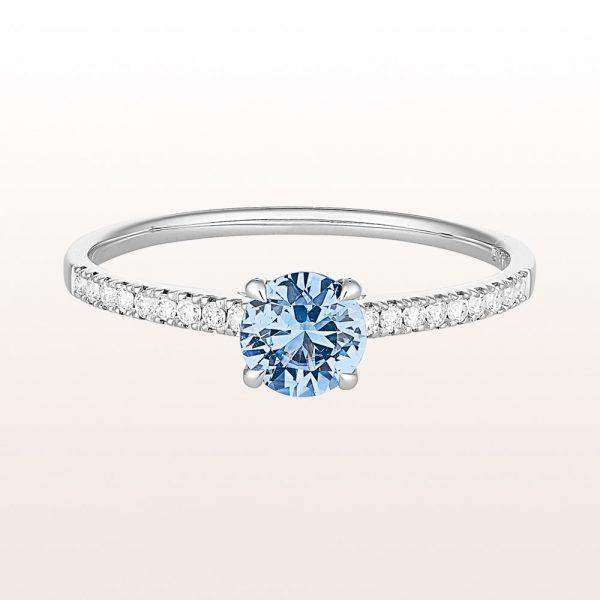 Ring mit Saphir 0,53ct und Brillanten 0,11ct in 18kt Weißgold