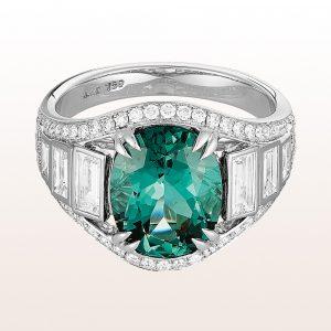 Ring mit grünem Turmalin 3,54ct und Diamanten 0,96ct in 18kt Weißgold