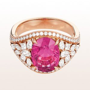 Ring mit Rubellit 3,75ct und Diamanten 1,06ct in 18kt Roségold