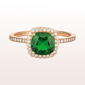 Ring mit Diopsid und Brillanten 0,15ct in 18kt Roségold