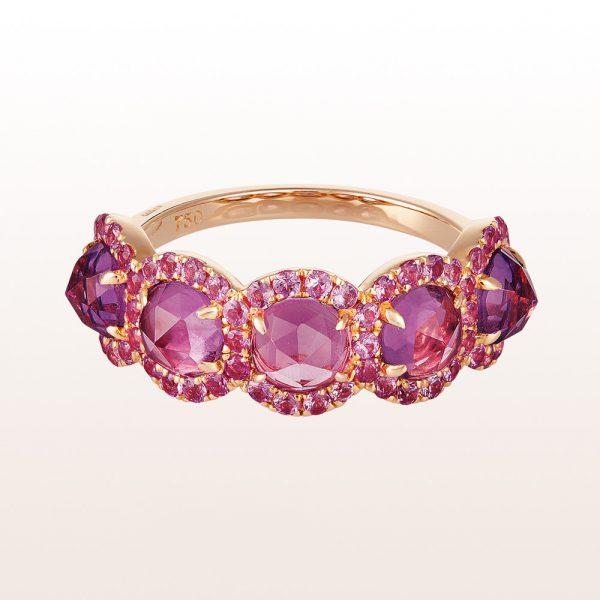Ring mit Amethysten und rosa Saphir 3,16ct in 18kt Roségold
