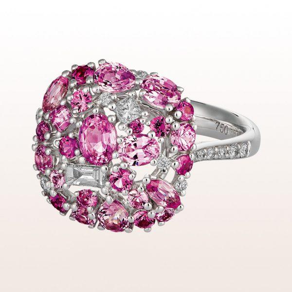 Ring mit rosa Saphir 2,19ct und Diamanten 0,28ct in 18kt Weißgold