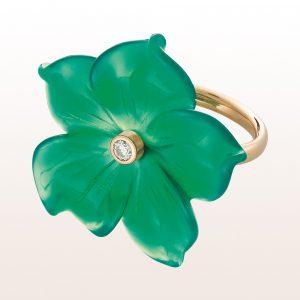 Ring mit einer Grünachatblume und Brillant 0,07ct in 18kt Gelbgold