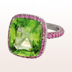 Ring mit Peridot und rosa Saphir in 18kt Weißgold
