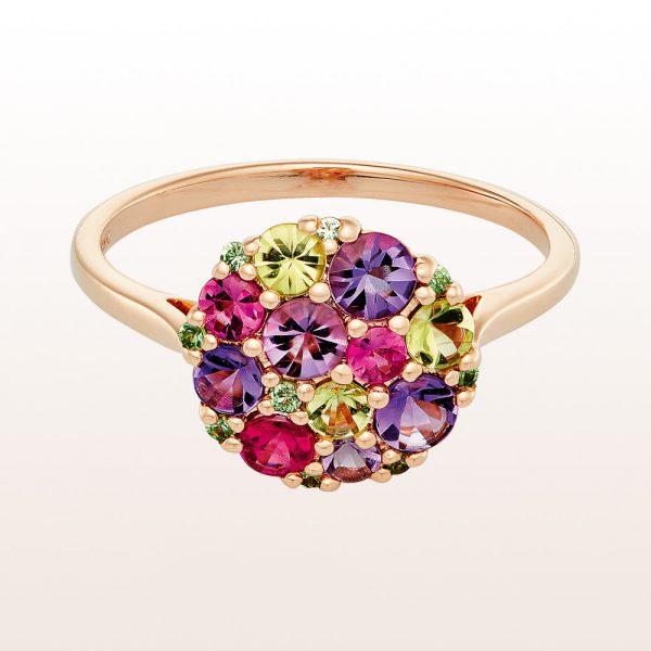 Ring mit Amethyst, Peridot, rosa Saphir und Tsavorit in 18kt Gelbgold