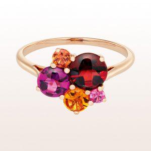 Ring mit Granat, Rhodolith, Citrin, orangem und rosa Saphir in 18kt Roségold