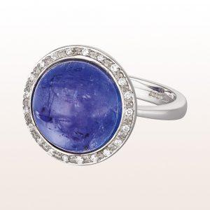 Ring mit Tansanitcabouchon 11,00ct und Brillanten 0,08ct in 18kt Weißgold