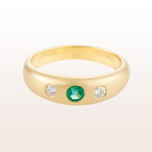Alliancering mit Smaragd 0,16ct und Brillanten 0,13ct in 18kt Gelbgold