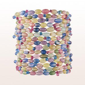Armband mit bunten Saphiren, Rubellit, Kyanit und einer 18kt Weißgold Stabschließe