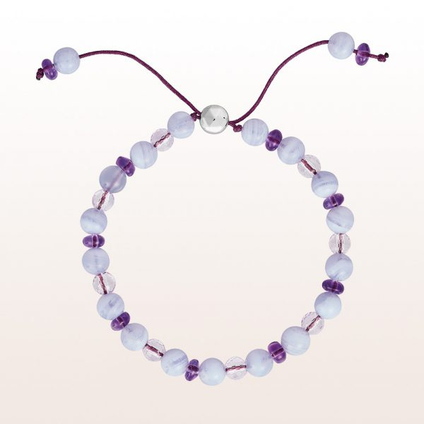 Bracelet with chalcedony and amethyst with silver clasp
