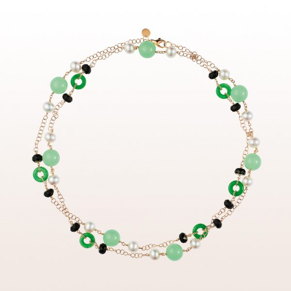 Necklace with green agate, pearls and onyx in 18kt yellow gold
