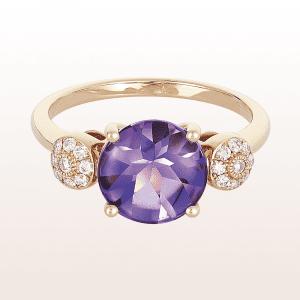 Ring mit Amethyst und Brillanten in 18kt Roségold
