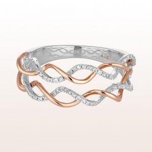Ring mit Brillanten 0,20ct in 18kt Weiß- und Roségold
