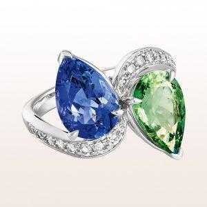 Ring mit grünem Turmalintropfen 2,47ct, Tansanittropfen 3,05ct und Brillanten in 18kt Weißgold