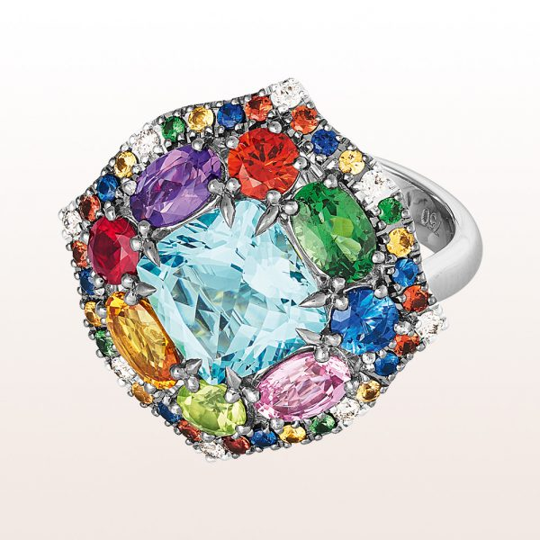 Ring with aquamarine 2,90ct, amethyst 0,31ct, peridot 0,27ct, ruby 0,24ct, muli-coloured sapphire 2,14ct, tsavourite 0,57ct and brilliants 011ct in 18kt white gold