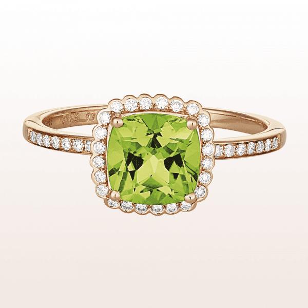 Ring mit Peridot 1,58ct und Brillanten 0,15ct in 18kt Roségold