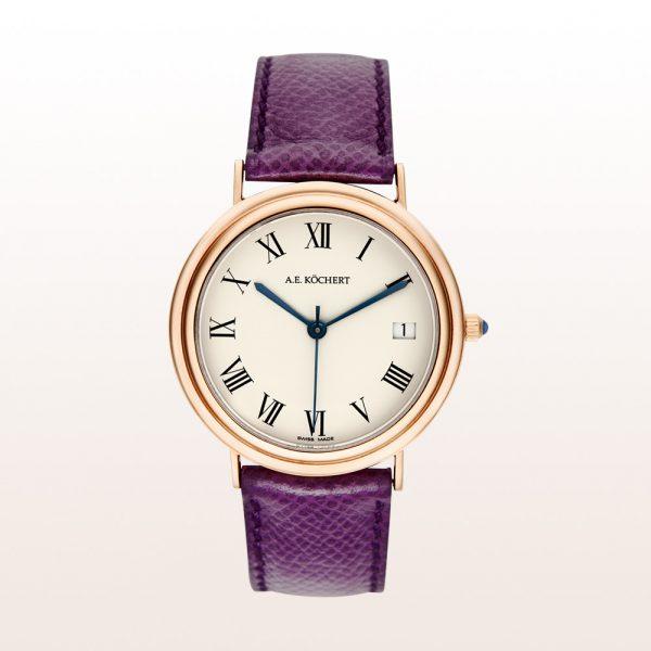 Köchert Uhr aus 18kt Roségold mit crémefarbenem Ziffernblatt, blauen Zeigern, Saphirkrone und violettem Uhrband