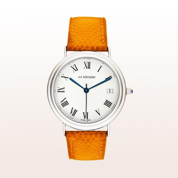 Köchert Uhr aus 18kt Weißgold mit weißem Ziffernblatt, blauen Zeigern, Saphirkrone und orangem Uhrband
