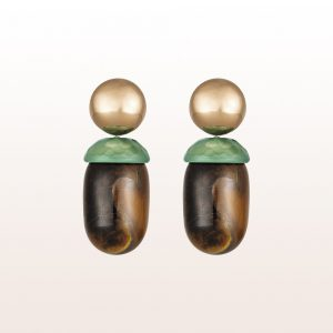 Earrings with green-agate and tiger's-eye in 18kt rose gold