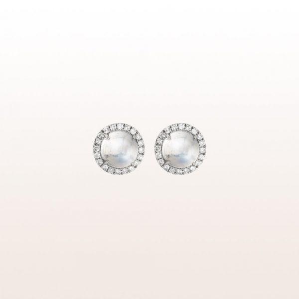 Ohrstecker mit Mondsteinen und Diamanten in 18kt Weißgold