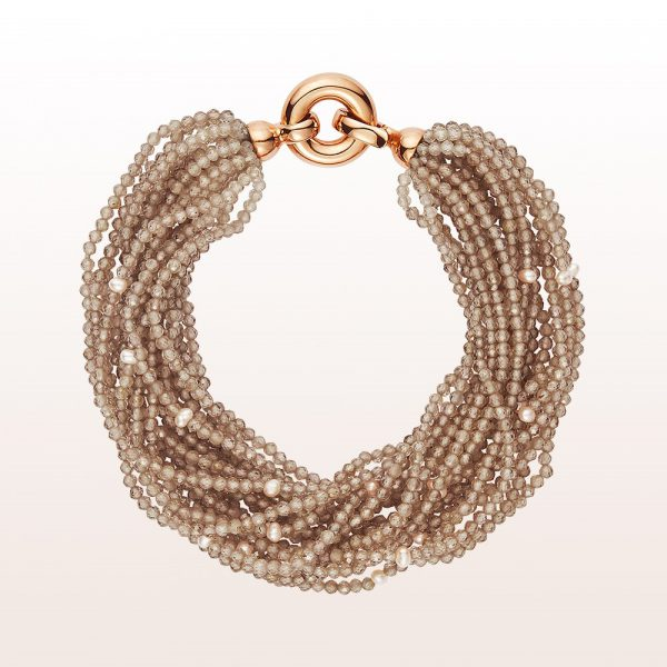 Bracelet with brown zircon, cultured pearls and an 18kt rose gold clasp