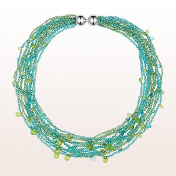 Necklace with apatite, peridote and a 18kt white gold ball clasp
