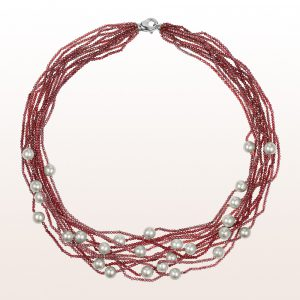 Necklace with pink and red spinel, grey culture pearls and a 18kt white gold carabiner