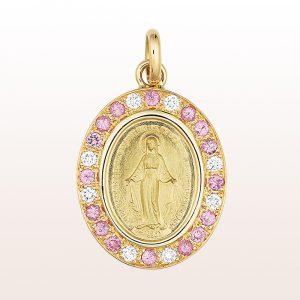 Anhänger mit Muttergottes (18mm) mit rosa Saphir0,44ct und Brilliant0,16ct in 14kt Gelbgold