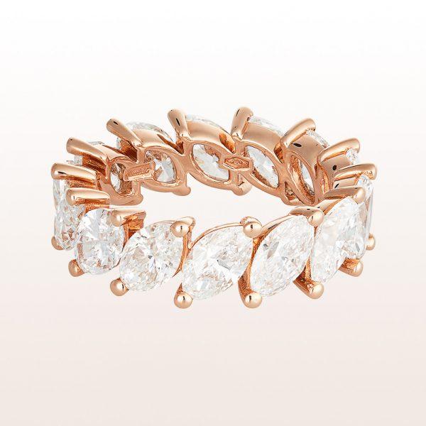 Ring mit Navette - Diamanten 6,72ct in 18kt Roségold