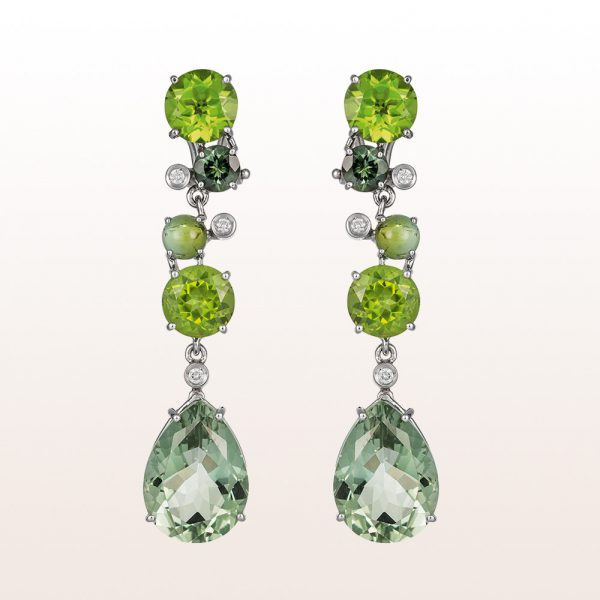 Ear studs with prasiolite, peridote, green tourmaline and brilliants 0,12ct in 18kt white gold