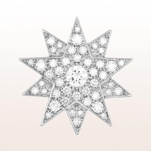 """Sisi Stern """"Modell 2"""" mit Brillanten 3,10ct in 18kt Weißgold. Dieser Sisi Stern kann als Brosche, Anhänger und Haarnadel getragen werden."""