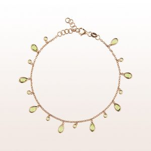 Bracelet with peridot in 18kt rose gold