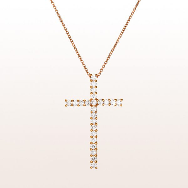 Necklace with cross-pendant with brilliant cut diamonds 1,35ct in 18kt rose gold