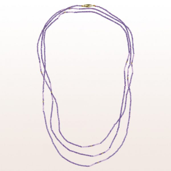 Necklace with amethyst, pink sapphire, gold-spheres and an 18kt yellow gold clasp