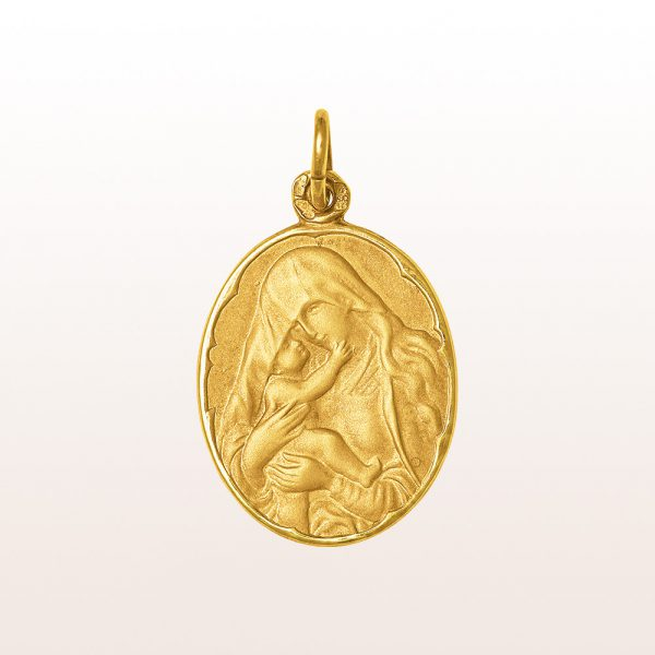 Anhänger mit Muttergottes und Jesuskind in 14kt Gelbgold
