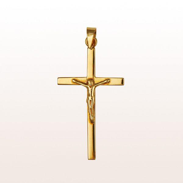 Kreuzanhänger mit Korpus in14kt Gelbgold