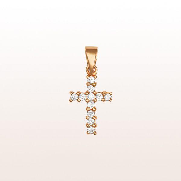 Kreuzanhänger mit Brillanten 0,17ct in 18kt Roségold