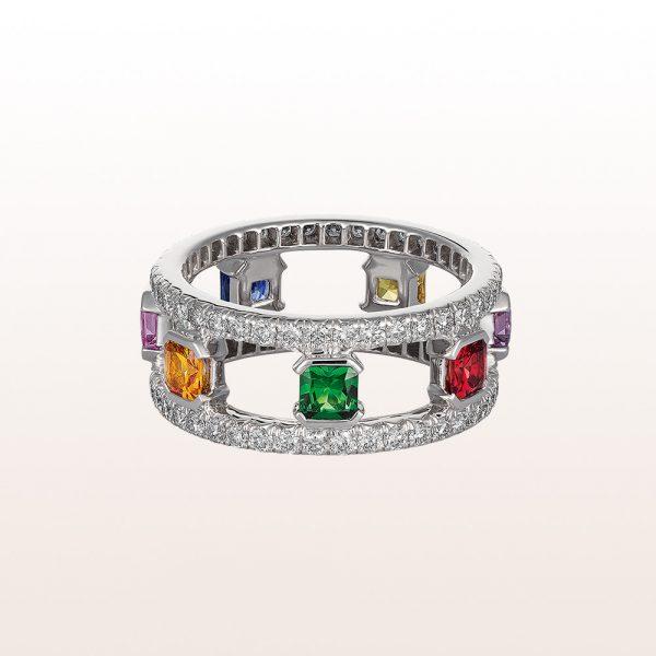 Ring mit Tsavorit 0,22ct, Rubin 0,24ct, bunte Saphire 1,24ct und Brillanten 1,18ct in 18kt Weißgold