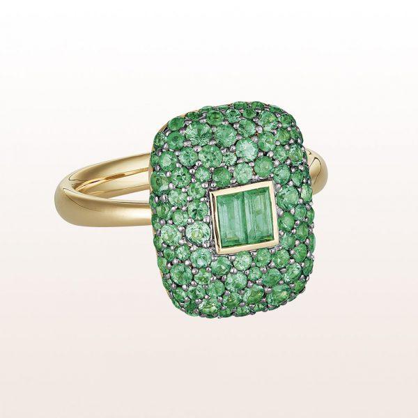 Ring mit Smaragd 1,33ct in 18kt Gelbgold