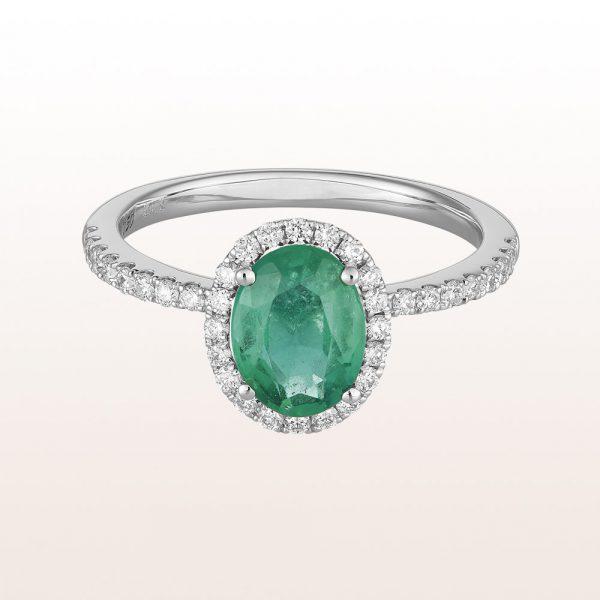 Ring mit Smaragd 1,18ct und Brillanten 0,34ct in 18kt Weißgold