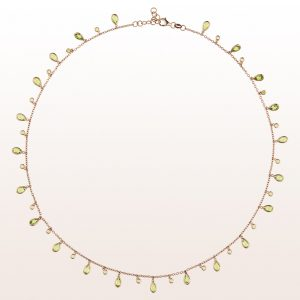 Collier mit Peridot 6,60ct in 18kt Roségold